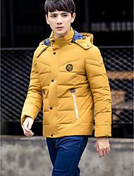 Masculino Casaco Capa,Simples Sólido Casual-Poliéster Penas de Pato Branco Manga Longa Colarinho Chinês Verde / Amarelo
