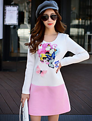 Women's Going out / Casual/Work Vintage / Cute / Sophisticated A Line Dress Print / Color Block Long Sleeve