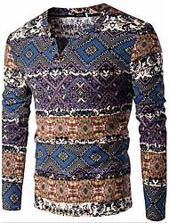 Herren Standard Pullover-Lässig/Alltäglich Einfach Druck Blau Orange V-Ausschnitt Langarm Baumwolle Leinen Frühling Herbst Mittel