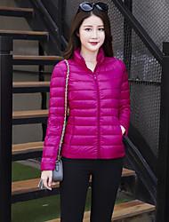 Feminino Casaco Capa,Simples Sólido Casual Tamanhos Grandes-Fibra Sintética Penas de Pato Branco Manga Longa Colarinho Chinês