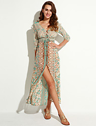 Women's Holiday A Line Dress,Floral V Neck Maxi Long Sleeve Multi-color Fall