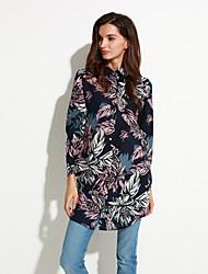 Women's Casual/Daily Boho Loose Fall Shirt,Floral Shirt Collar Long Sleeve Blue / Green Cotton Thin