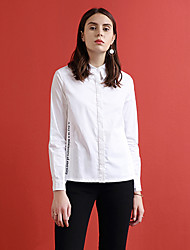 ARKMIIDO Women's Formal Simple Fall ShirtEmbroidered Shirt Collar Long Sleeve White Cotton / Polyester Medium