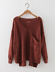 Women's Casual/Daily Simple Regular Pullover,Solid Round Neck Long Sleeve Cashmere Polyester Fall Medium Micro-elastic