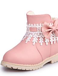 Mädchen-Stiefel-Kleid Lässig-PU-Flacher Absatz-Komfort Schneestiefel-Schwarz Rosa Rot