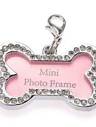 Katzen / Hunde ID Schilder Bequem Knochen Rosa Plastik