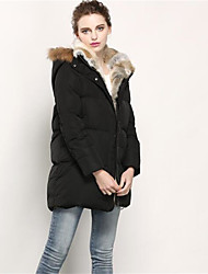 Women's Long Down Coat,Simple Going out Solid-Cotton Polypropylene Long Sleeve Hooded