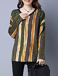 Damen Gestreift Street Schick Ausgehen / Lässig/Alltäglich T-shirt,Rundhalsausschnitt Herbst / Winter Langarm Rot / GrünBaumwolle /