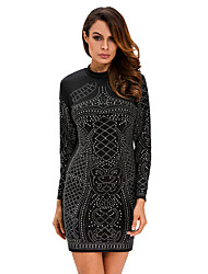 Women's Black Studded Long Sleeves Dress