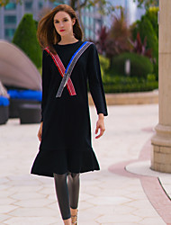Mujer Recto Vestido Noche Simple,Bloques Escote Redondo Sobre la rodilla Manga Larga NegroCachemira / Lana / Rayón / Acrílico / Nailon /