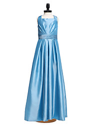 LAN TING BRIDE Floor-length Taffeta Junior Bridesmaid Dress A-line Square Natural with Sash / Ribbon Ruching Pleats