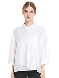 Feminino Camisa Casual Simples Primavera / Outono,Sólido Branco Linho / Náilon Colarinho Chinês Manga Longa Fina