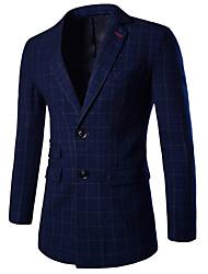 Masculino Blazer Casual / Formal Simples Outono / Inverno,Estampado Azul Algodão / Acrílico Decote V Manga Longa Média