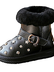 Girl's Boots Fall / Winter Comfort PU Casual Flat Heel Zipper Black / Silver Walking
