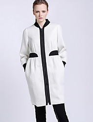CARBAMMI  Women's Going out Simple Trench CoatColor Block Stand Long Sleeve Fall White Polyester Opaque