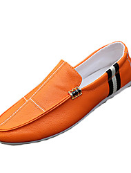 Men's Loafers & Slip-Ons Spring / Fall Comfort PU Casual Flat Heel Slip-on Black / White / Orange Sneaker