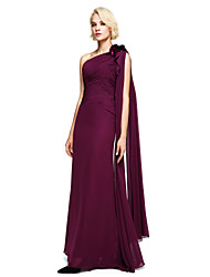 LAN TING BRIDE Floor-length Chiffon Bridesmaid Dress - Ball Gown One Shoulder with Beading / Flower(s)