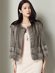 Xuebao Casual/Daily Vintage CoatSolid Round Neck Long Sleeve Winter Gray Others Thick