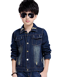 Neutral Unisex Casual/Daily Embroidered Print Jeans Denim Coat Jacket