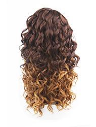 novo estilo de cabelo castanho rendas frente de onda solta perucas de cabelo sintético rendas