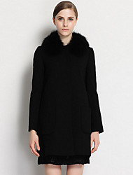CANTO MOTTO Women's Going out Simple CoatSolid Stand Long Sleeve Fall / Winter Black Wool / Special
