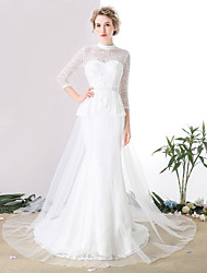 Trumpet / Mermaid Wedding Dress Cathedral Train High Neck Lace / Tulle with Beading