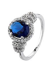 Hot Fashion Luxury Vintage  Sapphire Zircon CZ Diamond Oval  Rings For Women Wedding Jewelry Bague Ring