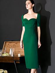 Fodero Vestito Da donna-Formali Sensuale / Semplice Tinta unita A cuore Al ginocchio Manica corta Verde Nylon Primavera / EstateA vita