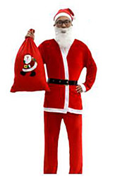 Christmas Costume/Holiday Halloween Costumes Red Solid Top / Pants / Belt / Hats Christmas Male Pleuche