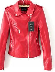 Feminino Jaquetas de Couro Casual Simples Inverno,Sólido Vermelho PoliuretanoManga Longa