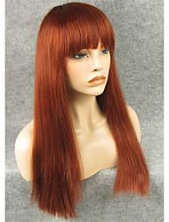 IMSTYLE20'' Auburn Natural Straight No Lace Machine Wig Synthetic Heat Resistant Fiber