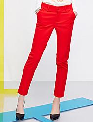 Pantalon Aux femmes Mince simple Coton / Polyester / Nylon / Spandex Micro-élastique