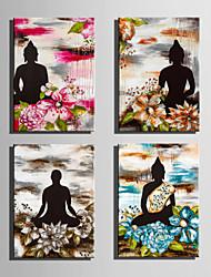 canvas Set Pessoas / Floral/Botânico Estilo Europeu,4 Painéis Tela Vertical Impressão artística wall Decor For Decoração para casa