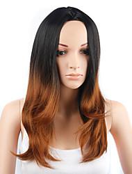style de mode longs cheveux raides couleur noir et jaune perruques synthétiques pour les femmes