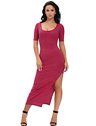 Women's Dusty Ribbed Half Sleeve Maxi Dress