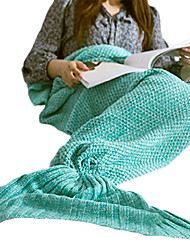 Travel Blanket Mermaid Blanket Travel Rest Acrylic Knitting Woo Wine / Blue / Purple / Pink