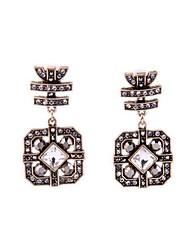 European Luxury Gem Geometric Earrrings Vintage Rhinestone Drop Earrings for Women Fashion Jewelry Best Gift