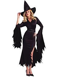 Costumes de Cosplay / Plus d'accessoires / Costume de Soirée Sorcier/Sorcière Fête / Célébration Déguisement Halloween Noir ImpriméRobe /
