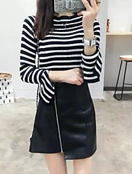 Damen Standard Pullover-Ausgehen Lässig/Alltäglich Einfach Gestreift Schwarz Rundhalsausschnitt Langarm Kaschmir Herbst Winter Mittel