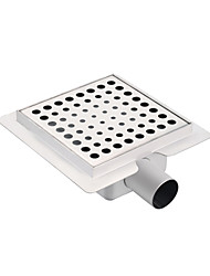 150mmX150mm Stainless Steel 304 Horizontal Shower Drain with Surrounding Tile Flange Waste Side Outlet with Round Hole on Surface