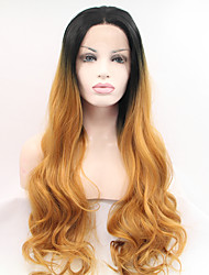 Sylvia Synthetic Lace front Wig Black Roots Auburn Hair Heat Resistant Long Wavy  Synthetic Wigs