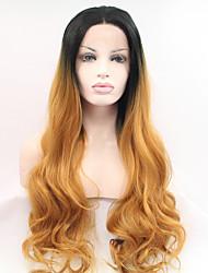 sylvia laço sintético peruca frente raízes negras perucas resistente ondulado longo sintéticos de calor cabelo ruivo