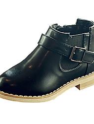 Girl's Boots Fall Winter Comfort PU Casual Flat Heel Black Gray Khaki Walking