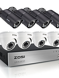 8 canales zosi®hd HDMI 720p DVR 8pcs 1.0MP de seguridad kit de sistema de cámaras
