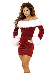 Women's Off The Shoulder Santa Sexy Christmas Mini Dress XMAS Fancy Costume
