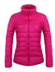 Manteau Doudoune Femme,Court simple Grandes Tailles Couleur Pleine-Coton Duvet de Canard Blanc Manches LonguesBleu / Rose / Rouge / Blanc