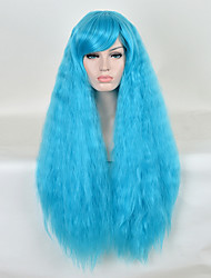 Cosplay Wig Long Curly Bule Color Heat Resistant Synthetic Wig Fashion Party Wigs