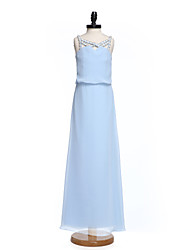 Lanting Bride Floor-length Chiffon Junior Bridesmaid Dress Sheath / Column Straps with Crystal Detailing