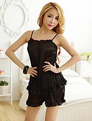 Costumes Vêtement de nuit Femme,Sexy Couleur Pleine-Mince Mousseline de soie / Spandex Noir Aux femmes