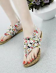 Women's Sandals Summer Comfort PU Casual Flat Heel Flower Blue / White / Royal Blue Others